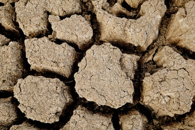 Die braune bodenoberfläche ist rissig. konzept der globalen erwärmung. rissige erdstruktur.