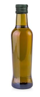 Die braune flasche mit olivenöl auf weißem hintergrund