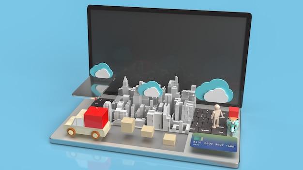 Die cloud- und technologie-ausrüstung für das 3d-rendering von cloud computing-inhalten.