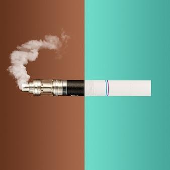 Die collage aus vape und zigaretten. das konzept der alten und neuen technologien