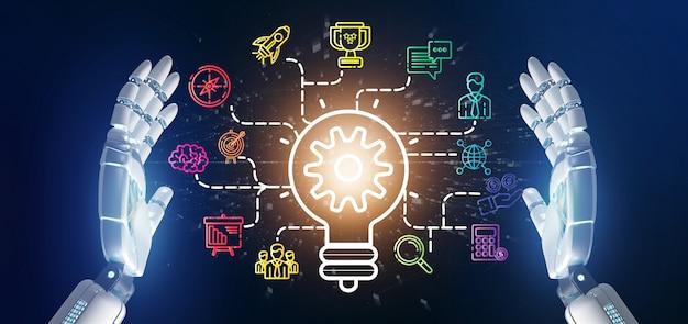 Die cyborghand, die ein birnenlampen-ideenkonzept mit hält, beginnen die verbundene ikone