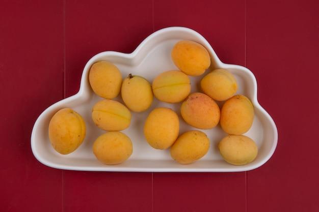 Die draufsicht auf aprikosen in einer platte bildet eine wolke auf einer roten oberfläche