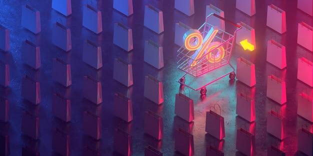 Die dreidimensionalen prozentsätze werden in einen einkaufswagen gelegt und es gibt viele einkaufstaschen herum. alle leben in einer futuristischen atmosphäre. 3d render.