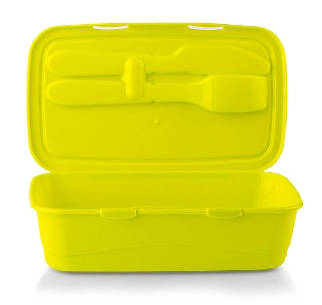 Die emrty grünen lebensmittelplastikbehälter lokalisiert auf einem weißen hintergrund