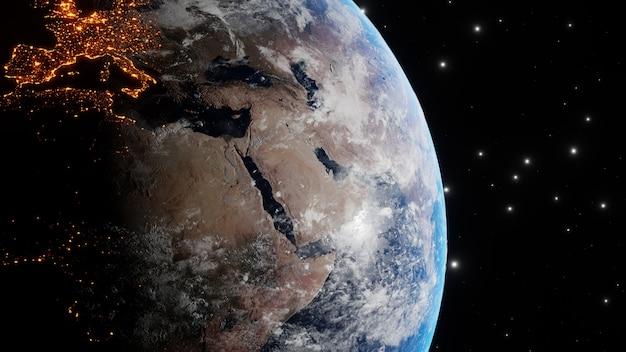 Die erde dreht sich langsam im weltraum, im hintergrund von der sonne mit den lichtern der planetenstädte auf der oberfläche sichtbar