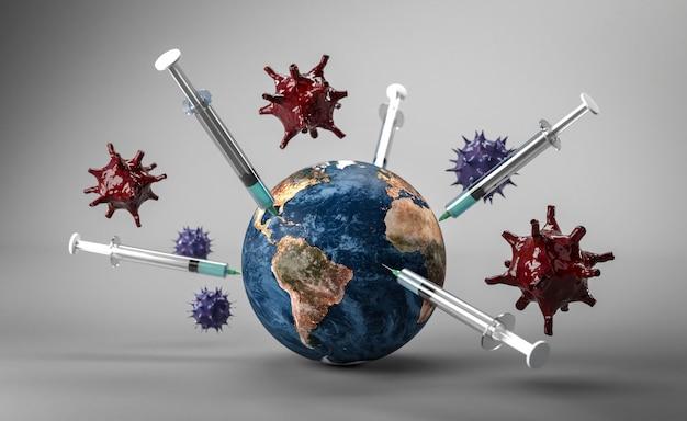 Die erde erhält mehrere impfstoffe gegen das corona-virus. 3d-rendering