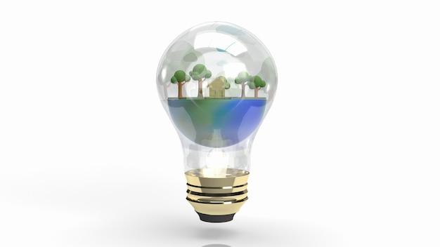 Die erde in glühbirne für öko-konzept 3d-rendering.