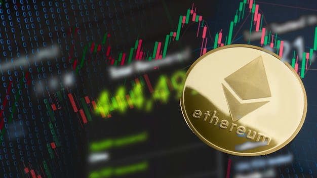 Die ethereum-münze auf geschäftsdiagramm für kryptographie oder geschäftskonzept