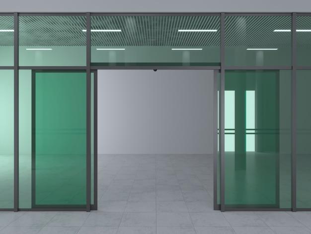 Die fassade eines modernen einkaufszentrums oder bahnhofs, eines flughafens mit automatischen schiebetüren.