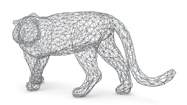 Die figur eines tigers besteht aus einem räumlichen polygonalen gitter. tiersymbol von 2022. 3d-darstellung.