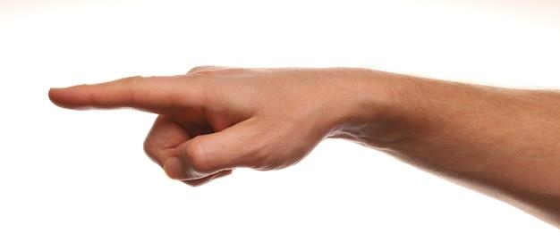 Die finger zeigen auf etwas isoliertes