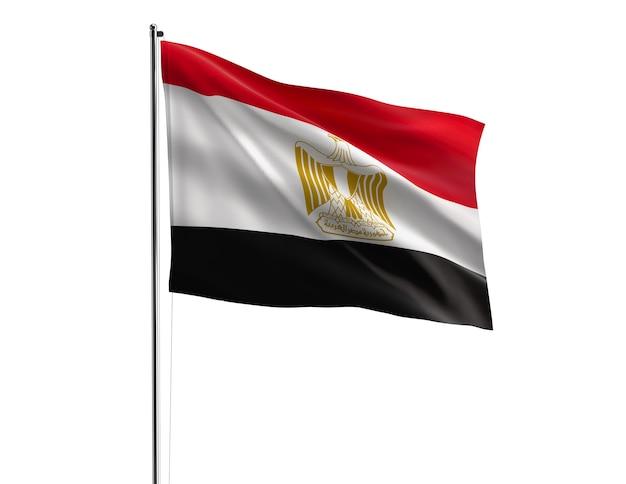 Die flagge ägyptens auf weißem hintergrund