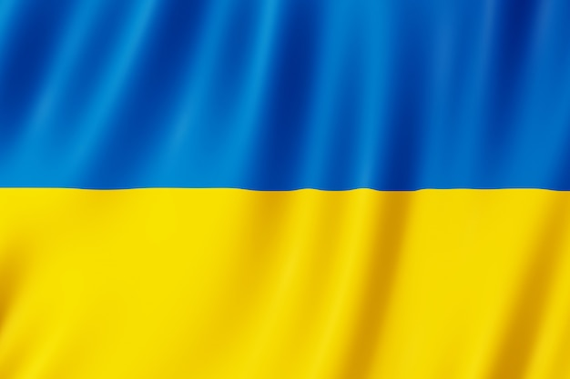 Die flagge der ukraine weht im wind.