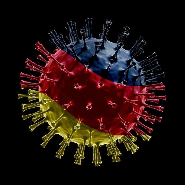 Die flagge deutschlands auf covid-19 ist ein viruskonzept. 3d-rendering