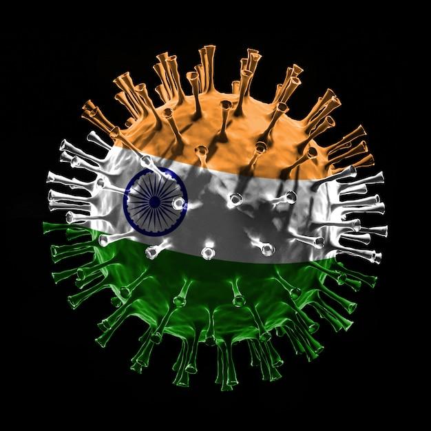 Die flagge indiens auf covid-19 ist ein viruskonzept. 3d-rendering