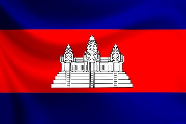 Die flagge von kambodscha winkt auf textur stoff