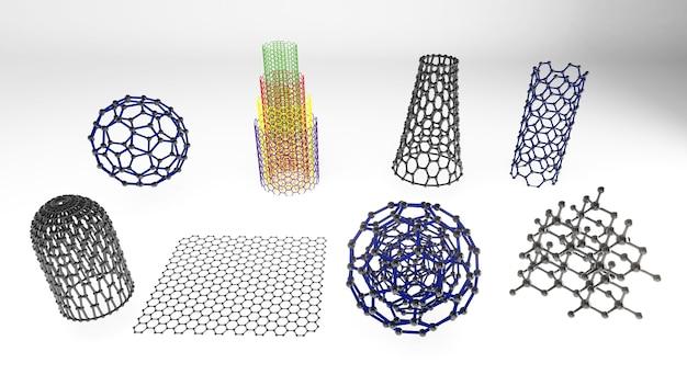 Die formstruktur der nanotechnologie,nanotechnologie der zukunft,3d-rendering