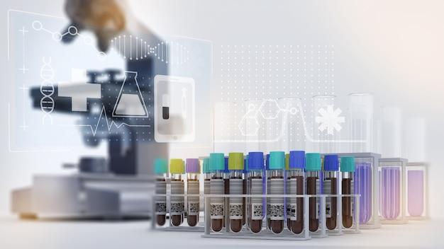 Die forschung untersucht blutproben, menschliche bluttests, um informationen zur körperlichen gesundheit zu erhalten, hintergrundbild des blutforschungsmikroskops, 3d-rendering