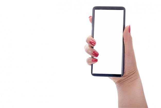 Die frau, die intelligentes telefon mit bankmoblie hält, kann ihre texte oder andere sein