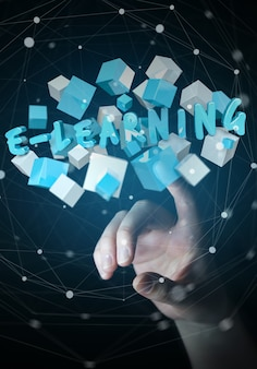Die frau, die sich hin- und herbewegendes 3d berührt, übertragen e-learning-darstellung mit würfel