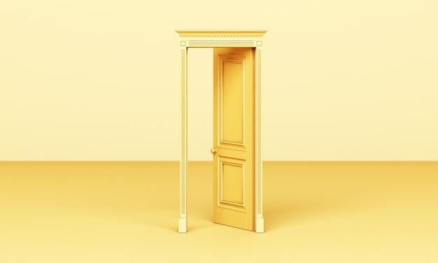Die gelbe tür im klassischen stil ist auf einem gelben 3d offen