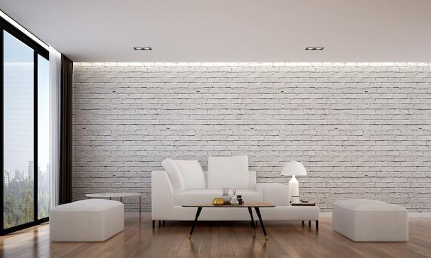Die gemütliche innenarchitektur und modellmöbel des wohnzimmers und der weißen backsteinmauer textur hintergrund und 3d-rendering
