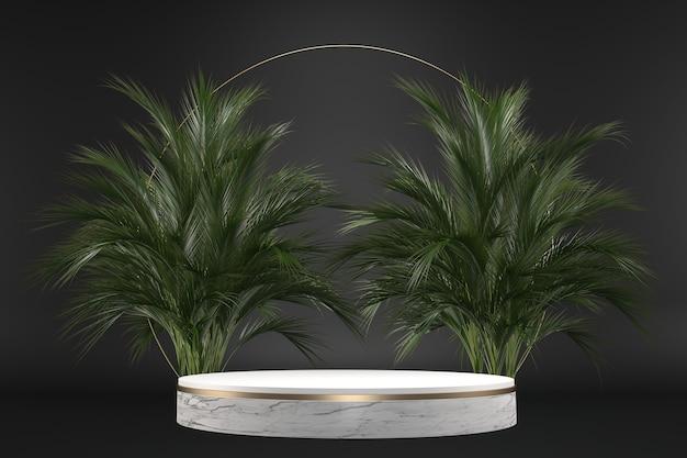 Die geometrische und pflanzendekoration des tropischen granitpodiums auf schwarzem hintergrund .3d-rendering