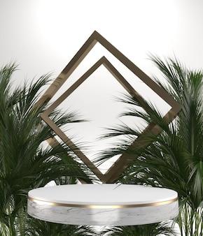 Die geometrische und pflanzendekoration des tropischen granitpodiums auf weißem hintergrund .3d-rendering
