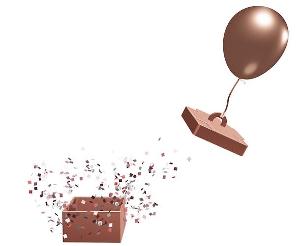 Die geschenkbox öffnete sich durch ziehen des ballons. auf weißem hintergrund mit ausschnitt 3d illustration