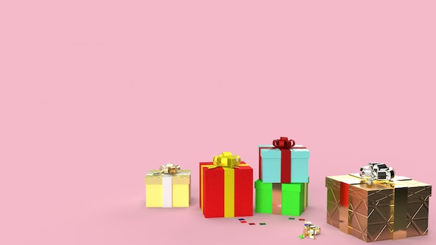 Die geschenkboxen auf rosa bild der wiedergabe des hintergrundes 3d für feierinhalt.