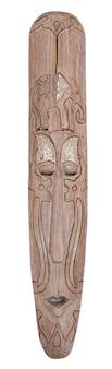 Die geschnitzte afrikanische hölzerne maske auf dem weiß