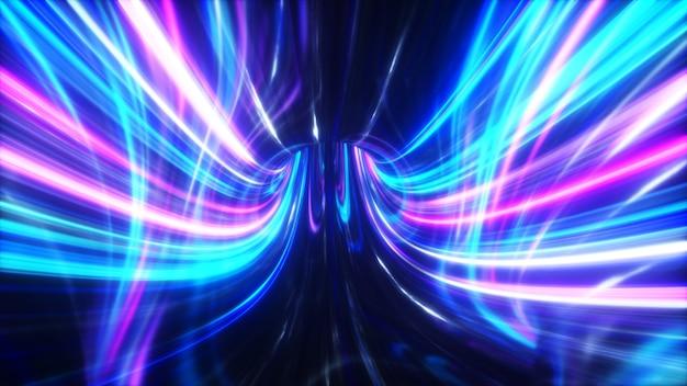 Die geschwindigkeit digitaler lichter, neonstrahlen, die sich durch die tunnel der digitalen technologie bewegen. raum-zeit-konzept.