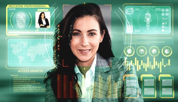 Die gesichtserkennungstechnologie scannt und erkennt das gesicht von personen zur identifizierung