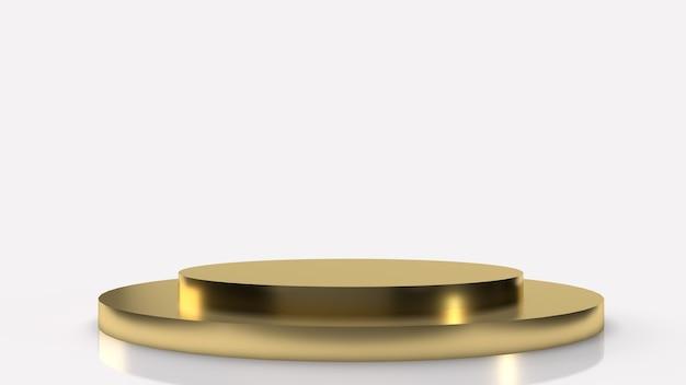Die goldene podiumplattform auf weißem hintergrund 3d rendering