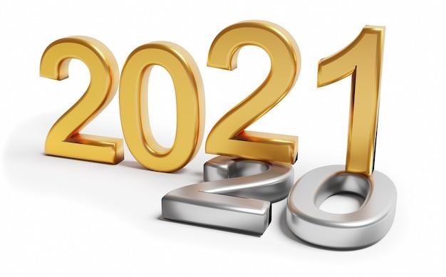 Die goldnummer 2021 liegt 2020 isoliert auf weiß