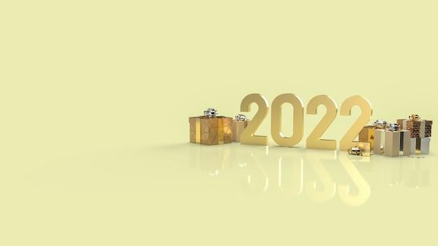 Die goldnummer 2022 und geschenkbox für neujahrskonzept 3d-rendering.