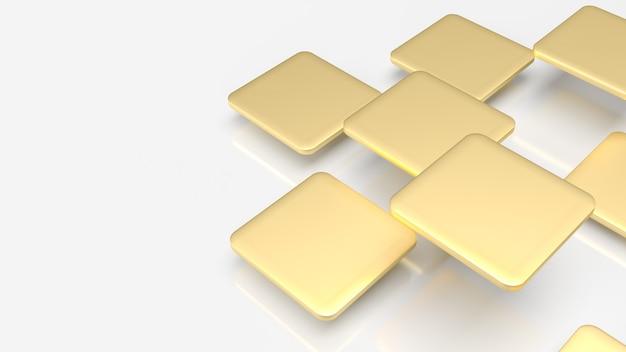 Die goldplatten fliegen auf weißem hintergrund für 3d-rendering mit abstraktem hintergrund.