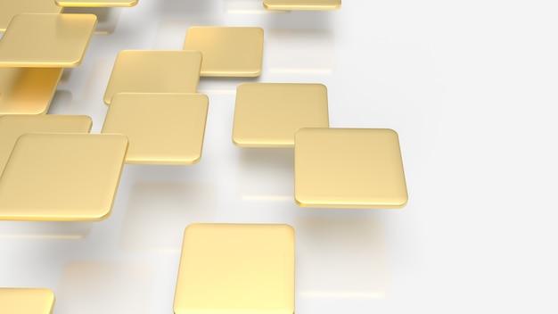 Die goldplatten fliegen auf weißem hintergrund für 3d-rendering mit abstraktem hintergrund. Premium Fotos