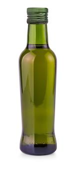 Die grüne flasche mit olivenöl auf weißem hintergrund