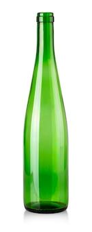 Die grüne leere flasche für wein lokalisiert auf weißem hintergrund