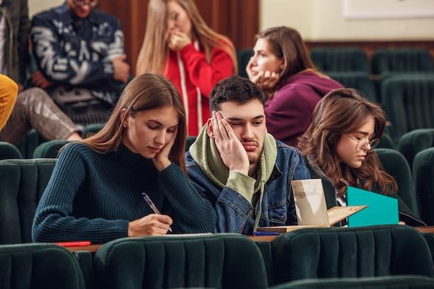 Die gruppe fröhlicher, fröhlicher schüler, die vor dem unterricht in einem hörsaal sitzen