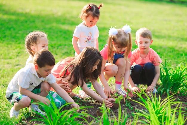 Die hände der kinder, die zusammen jungen baum auf schwarzem boden als das konzept der welt der rettung pflanzen