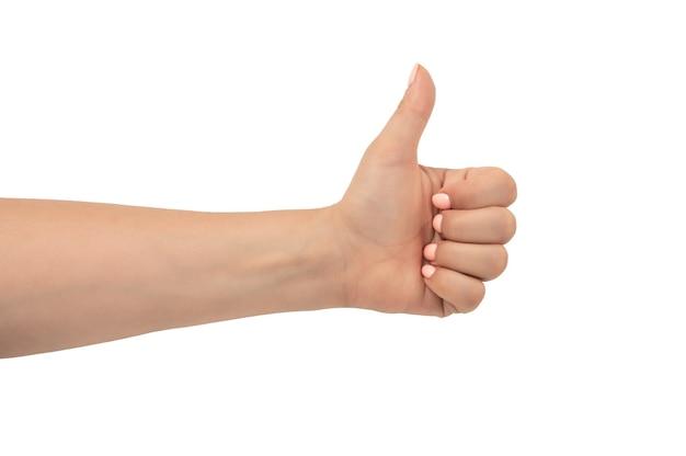 Die hand der frau mit einer rosa maniküre zeigt eine geste mit dem daumen nach oben, isoliert auf weißem hintergrund. mitte der erwachsenen frau zeigt daumen hoch zeichen auf weiß. kaukasische weibliche hand mit daumen hoch geste