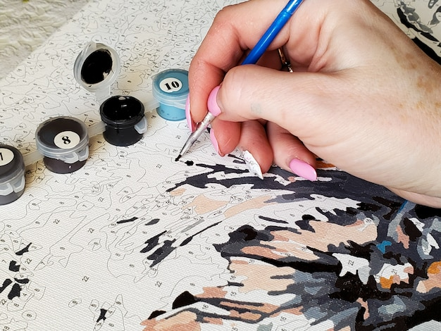Die hand der frau zeichnet ein pinselbild durch zahlen auf der leinwand
