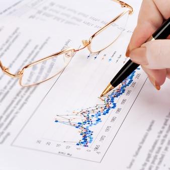 Die hand der geschäftsfrau, die diagramm auf finanzbericht mit stift zeigt.