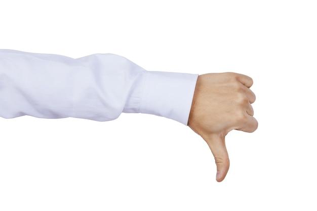 Die hand des kaukasischen mannes mit dem daumen nach unten als zeichen der abneigung, ich mag es nicht, negativ