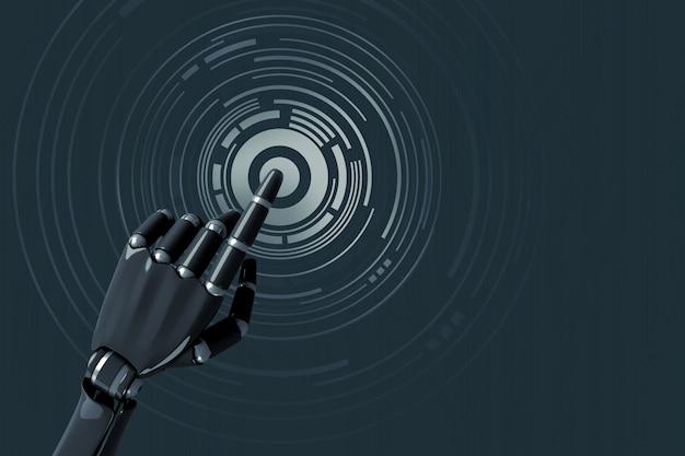 Die hand des roboters, die auf ein digitales konzentrisches muster drückt