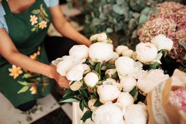 Die hand des weiblichen floristen, die weiße pfingstrosenblumen anordnet