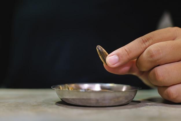 Die hand, die gebratenen sonnenblumensamen für auswählt, essen
