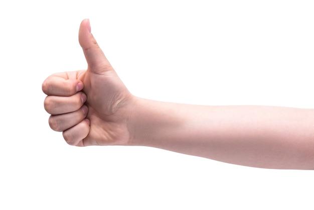 Die hand einer person zeigt den daumen nach oben körpersprache viel glück genehmigungskonzept die geste ist in ordnung